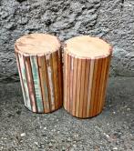 Banco redondo filetado madeira de demolição cod 24