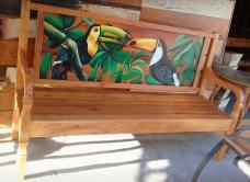 banco de 1,80 x 0,55 com detalhe de pintura no encosto cod 18