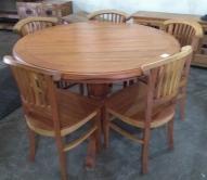 jogo de mesa redonda de 1,33 m com 5 cadeiras leques cod 55