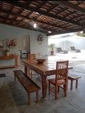 mesa de 2,5 x 1 com 2 bancos mineiros e 2 cadeiras cod 76