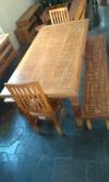 mesa de 2 x 1 com 2 bancos e 2 cadeiras cod  83