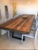 mesa de madeira maciça  pés em O estrutura em ferro cod 45