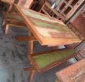 mesa com 2 bancos pés em X  de 2 x 1 cod 54