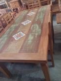 mesa de jantar de 2 x 1 com ladrilho cod 15